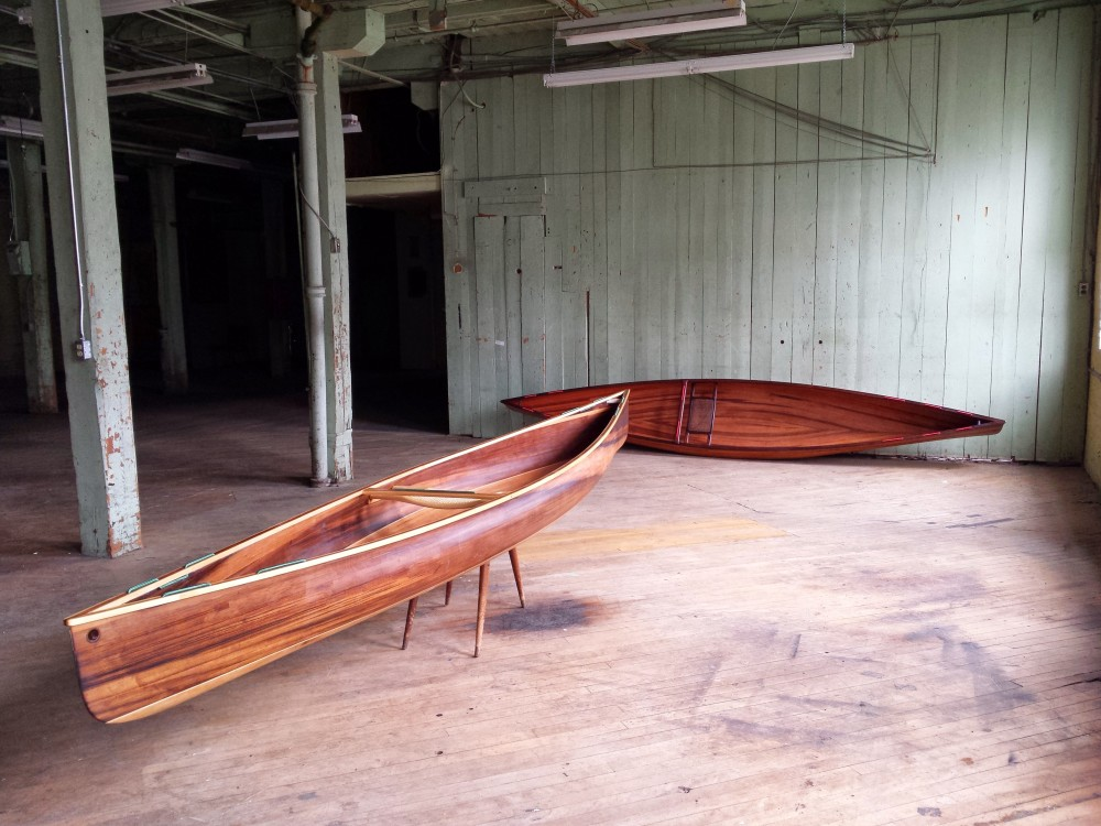 Pair of Solo Cedar Strip Canoes