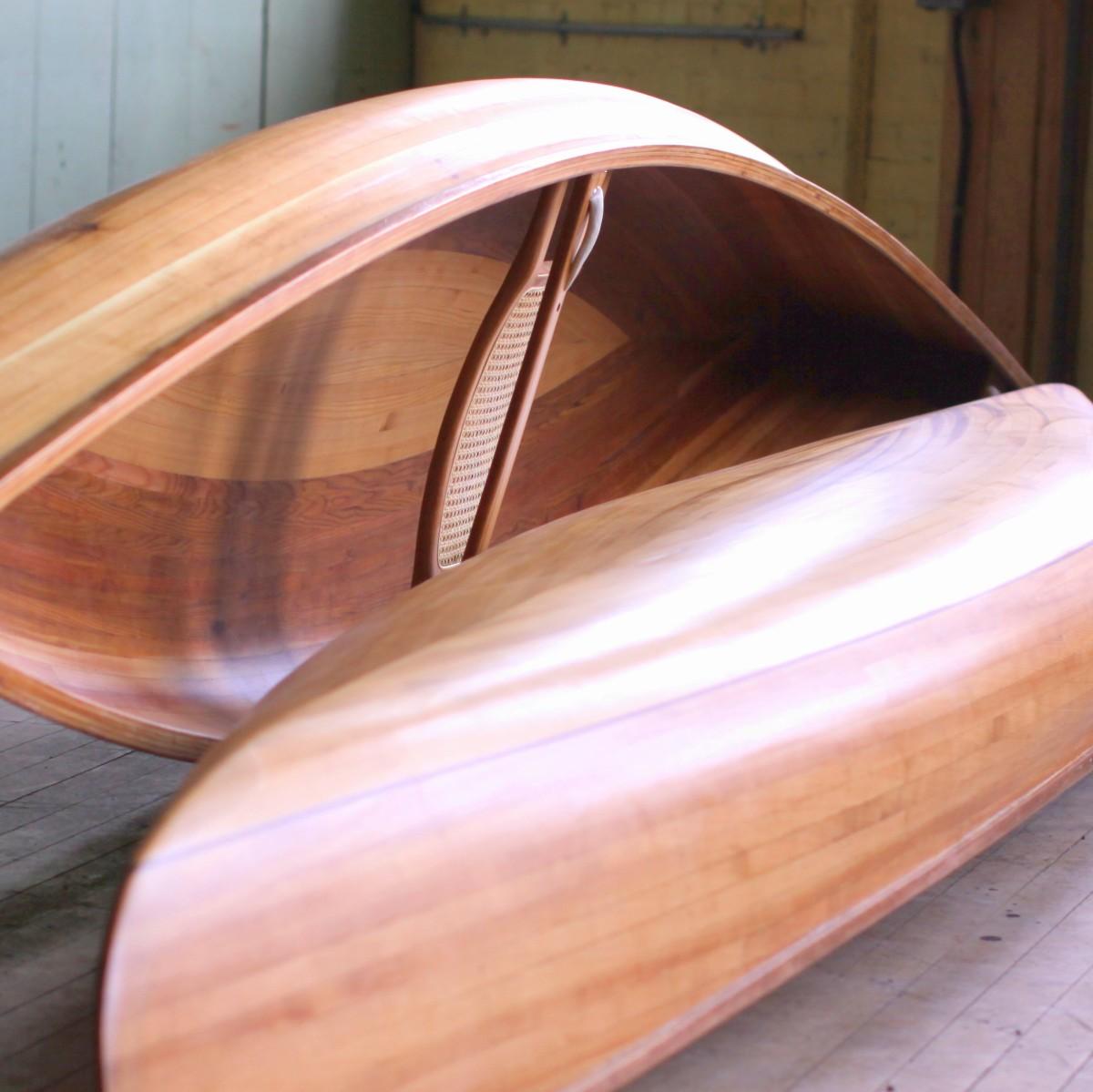 Two Solo Cedar Strip Canoes in the Studio