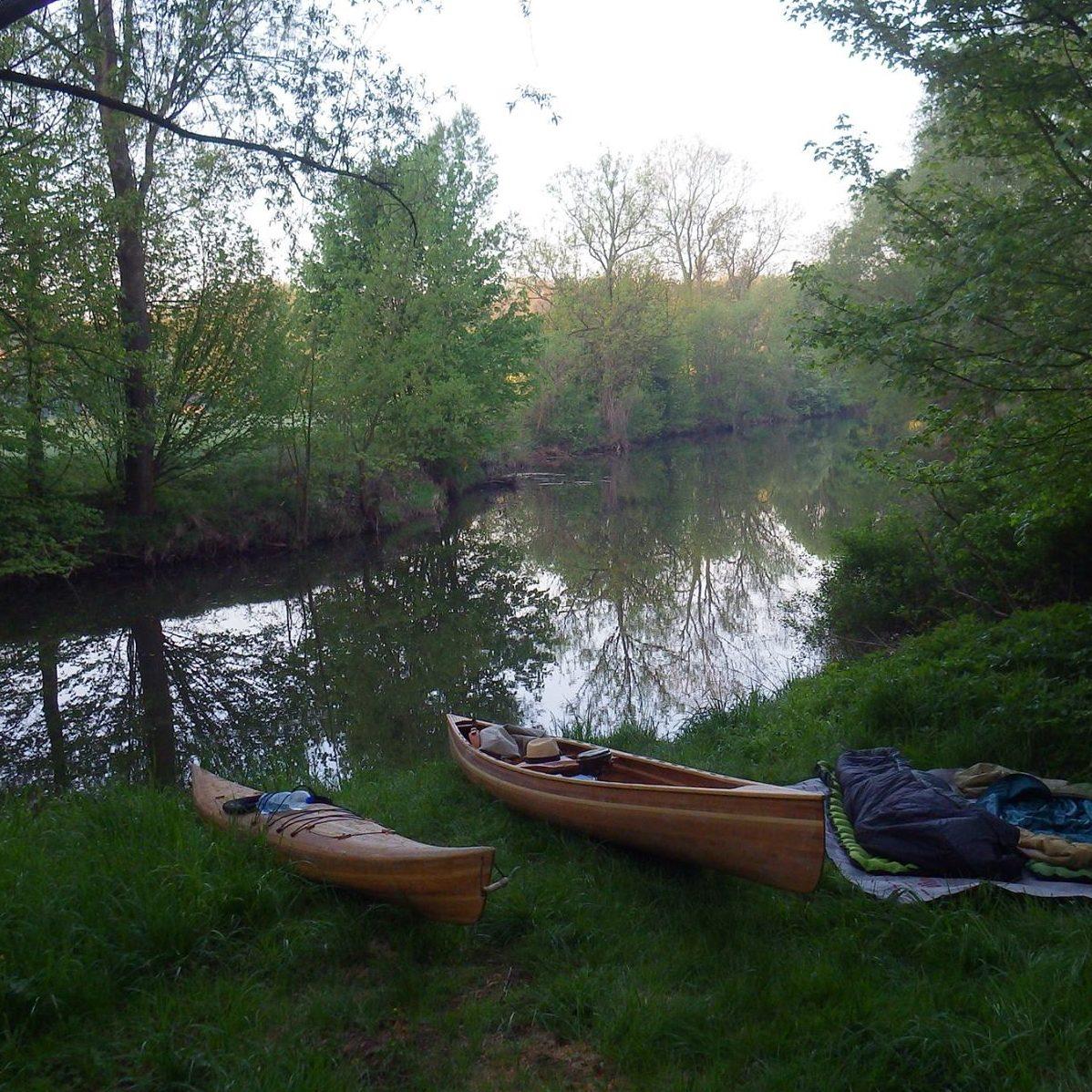 Cedar strip kayak and canoe.